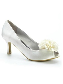 Elegantpark Pumps Satin Flower Peep Toe Bridal Shoes