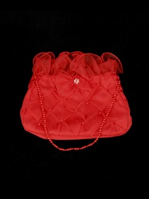 Red Satin Netting Beading Bridal Handbag