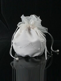 Ivory Satin Beading Teather Closure Flower Girl Handbag