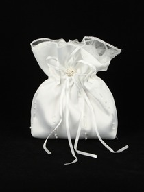 White/Iovry Satin Beading Flower Girl Handbag