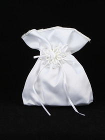 White/Ivory Satin Flower Girl Handbag with Pearls