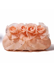 Champagne Snap Closure Flower Satin Handbags