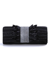 Black Clip Closure Satin Rhinestones Evening Bags