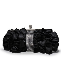 Black Crystal Netting Satin Evening Handbag