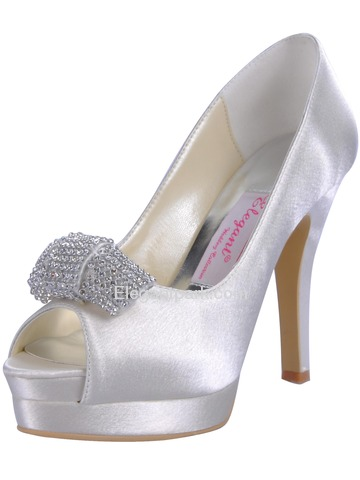 Elegantpark Stiletto Heel Platforms Peep Toe Satin Wedding Shoes With Buckle (EP11061-IPF)