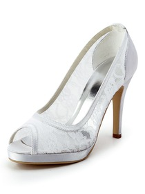 Elegantpark Peep Toe Pumps Inside Platform Stiletto Heel Lace Wedding & Party Shoes