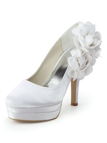 Elegantpark Closed Toe Pumps Double Platforms Side-Flowers Satin Stiletto Heel Wedding & Party Shoes