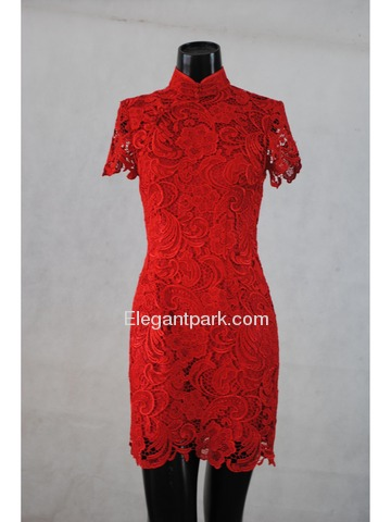 Red Mandarin Collar Knee-Length Italian Lace Normal Cheongsam