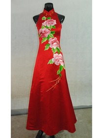 Red A-Line Mandarin Collar Cut-in Shoulder Floor-Length Silk Brocade Embroidery Cheongsam