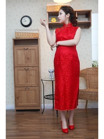 Red Mandarin Collar Tea-Length Silk Brocade Normal Cheongsam