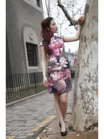 Pink Mandarin Collar Knee-Length Cap Sleeves Silk Traditional Cheongsam
