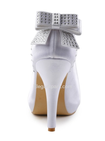 Elegantpark Satin Closed Toe Stiletto Heel Inside Platform Rhinestones Evening&Party Shoes With Bowknot (EP11034-IP)