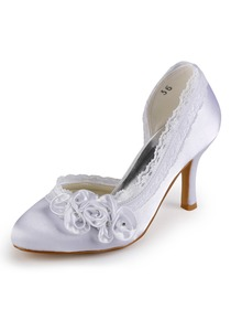 Elegantpark Satin Closed Toe Stiletto Heel/Pumps Bridal Shoes With Satin Flowers