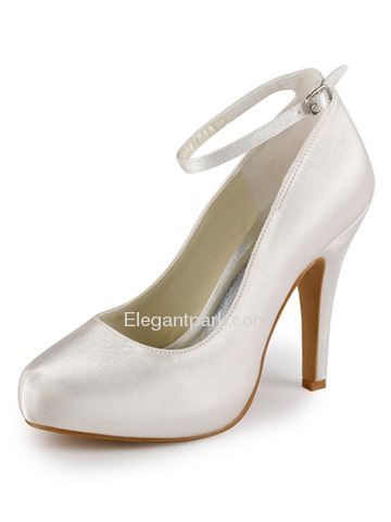 Elegantpark Satin Closed Toe Stiletto Heel/Pumps Inside Platform Bridal Shoes with Buckle(More Colors) (EP11049-IP)