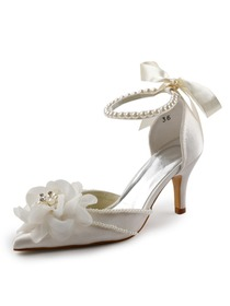 Elegantpark Satin Pointy Toe Stiletto Heel Pearls Flowers Evening&Party Shoes with Ribbon Tie