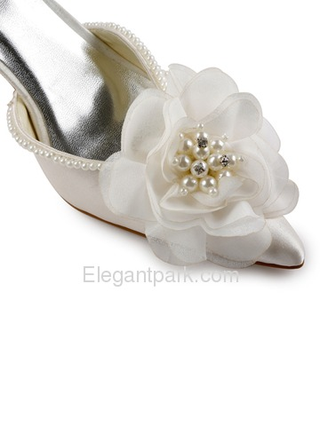 Elegantpark Satin Pointy Toe Stiletto Heel Pearls Flowers Evening&Party Shoes with Ribbon Tie (EP11052)