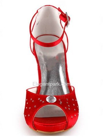 Elegantpark Satin Open Toe Stiletto Heel/Pumps Inside Platform Rhinestones Evening&Party Shoes (EP11037-IP)