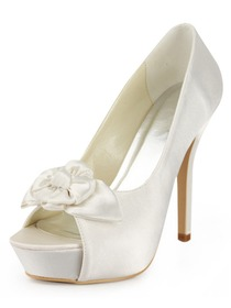 Elegantpark Peep Toe Stiletto Heel Flower Satin Bridal Shoes With Inside Platform