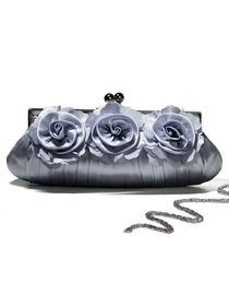 Silver Satin Flower Handbags