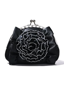 Black Rhinestone Metallic Hand Bag With a Belt Formal Evening Bag/Clutches