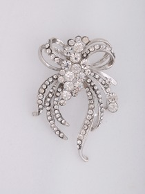 Elegant CZ Silver Bridal Crystal Wedding Bridal Pins & Clips