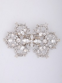 Shiny Silver Snowflake Pattern CZ Crystal Wedding Bridal Pin&Clips