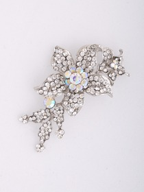 Clear Silver Crystal Flower Pattern Crystal Pin&Clips