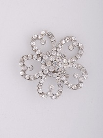 Gorgeous Floral Crystals Silver Plating Wedding Bridal Pin