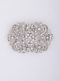 Gorgeous Round Clear CZ Silver Crystal Wedding Bridal Pins & Clips