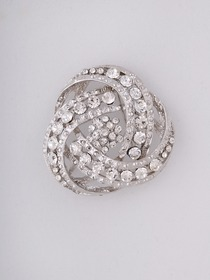 Round Clear Diamond Silver Crystal Pins & Clips