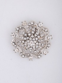Gorgeous Silver Crystal Silver Plating Floral Wedding Bridal Pin