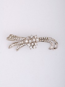 Gorgeous Silver Crystals Silver Plating Asymmetrical Wedding Bridal Pin
