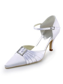 Elegantpark White Pointy Toe Stiletto Heel Satin Rhinestones Wedding Evening Party Shoes