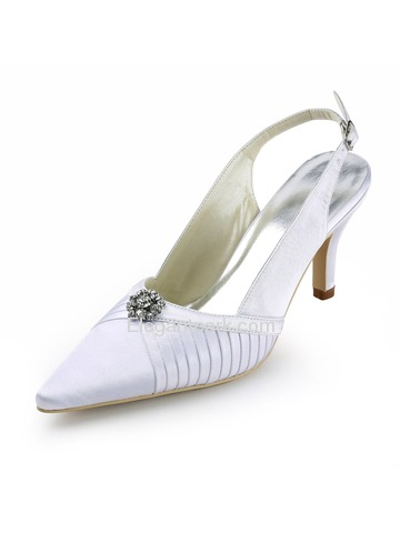 Elegantpark White Pointy Toe Stiletto Heel Satin Wedding Evening Party Shoes (EP11113)