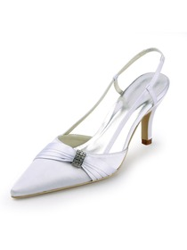 Elegantpark White Pointy Toe Stiletto Heel Satin Wedding Evening Party Shoes