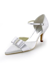 Elegantpark White Pointy Toe Stiletto Heel Satin Bow Wedding Evenig Party Shoes