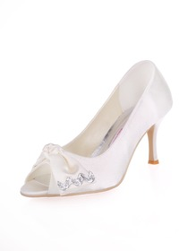Elegantpark Ivory Peep Toe Stiletto Heel Bowknot Satin Wedding Evening Party Shoes