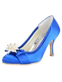 Elegantpark Blue Round Toe Bowknot Stiletto Heel Satin Wedding Evening Party Shoes