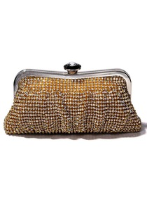 Modern Gold Crystals Metallic Wedding Evening Party Handbag