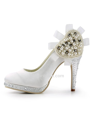 Elegantpark White Round Toe Platform Pearls Stiletto Heel Rhinestone Satin Wedding Party Shoes (EP11127-PF)