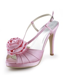 Elegantpark Pink Peep Toe Platform Flower Stiletto Heel Satin Evening Party Sandals