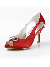 Elegantpark Red Peep Toe Rhinestones Stiletto Heel Evening Party Shoes
