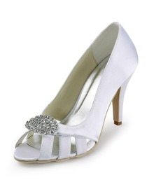Elegantpark White Peep Toe Rhinestones Stiletto Heel Pump Wedding Party Shoes
