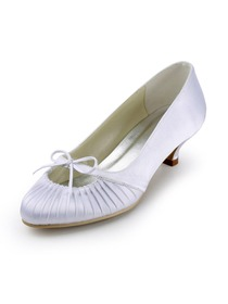 Elegantpark White Round Toe Ruched Bow Low Heel Satin Wedding Party Shoes
