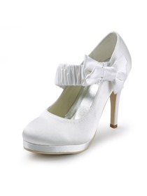 Elegantpark White Round Toe Bow Platform Stiletto Heel Satin Wedding Evening Party Shoes