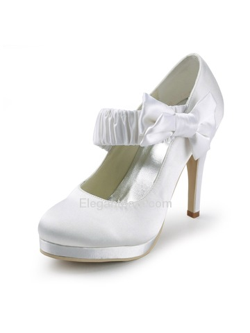 Elegantpark White Round Toe Bow Platform Stiletto Heel Satin Wedding Evening Party Shoes (EP11119-PF)
