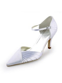 Elegantpark White Pointy Toe Ruched Stiletto Heel Satin Wedding Evening Party Shoes