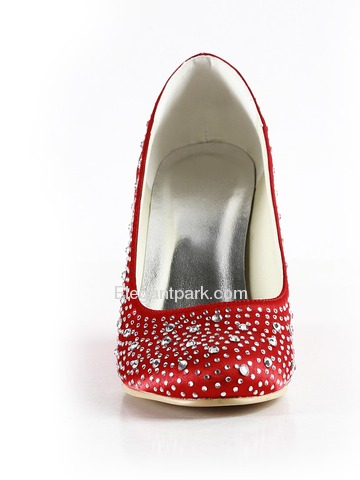 Elegantpark Red Almond Toe Satin Rhinestones Wedge Wedding Evening & Party Shoes (EP2003)