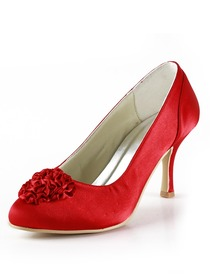 Elegantpark Red Almond Toe Stiletto Heel Satin Flower Wedding Evening & Party Shoes