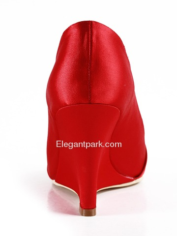 Elegantpark Red Round Toe Wedge Satin Bow Wedding Evening Party Shoes (EP2005)